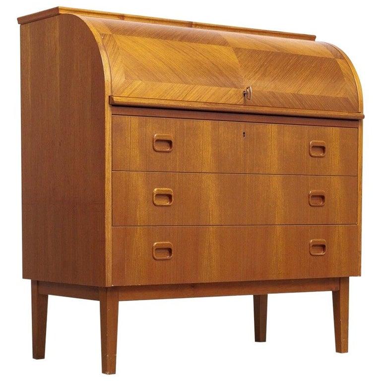 Midcentury Swedish Modern Egon Ostergaard Teak Wood Rolltop Secretary Desk For Sale