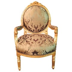 French Armchair in Louis Seize Style Gilded