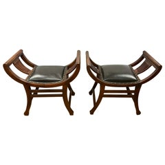 Pair of Antique English Curved Slatted Mahogany Black Leather Benches Stools