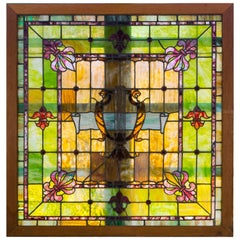 19th Century Stained-Glass Window with Fleur de Lis Style Motif