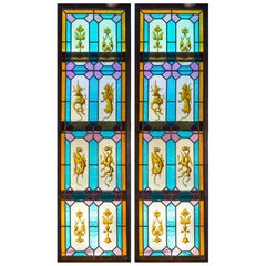Pair of Stained Glass Windows with Hand Painted Griffins