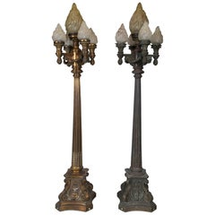 Pair of Bronze Torchieres