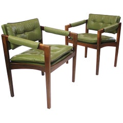 Unusual Pair of Green Mid-Century Modern Lounge Chairs by Glenn of California