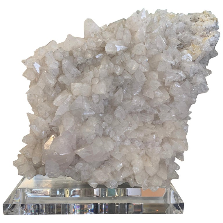 Large Quartz Crystal Specimen on Lucite Base For Sale