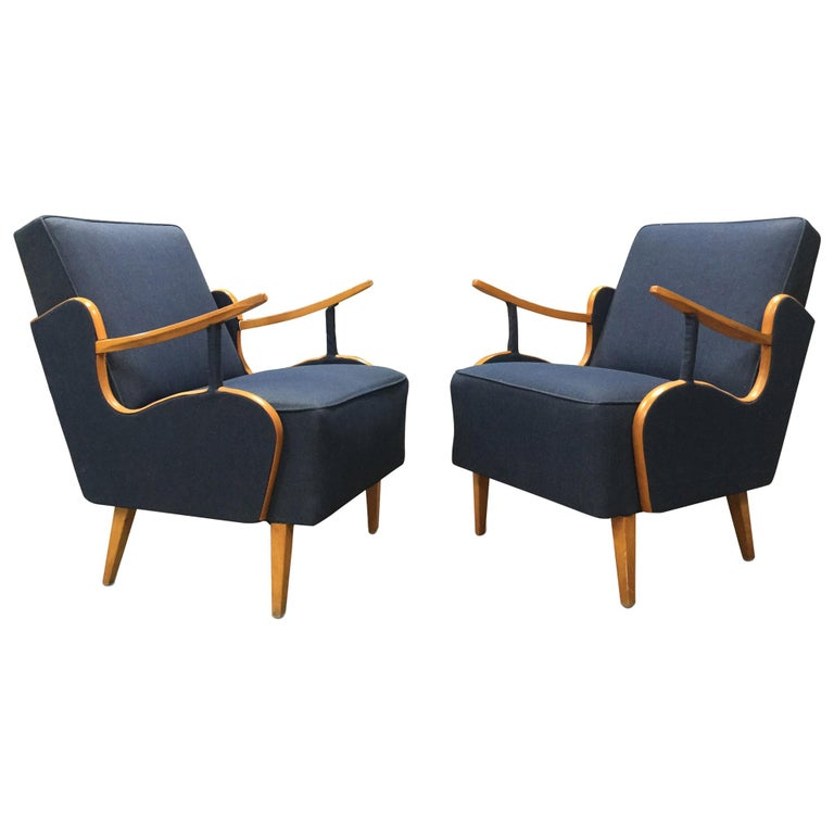 Reupholstered Vintage European Deco Armchairs For Sale