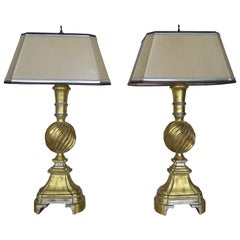 Pair of 22-Karat Gold and Silver Leaf Lamps with Parchment Shades