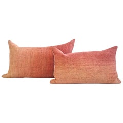 Hand Painted Vintage Linen & Hemp Small Pillow in Orange Tones, in Stock