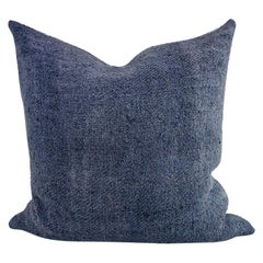 Hand Painted Vintage Linen Small Pillow in Blue Tones, in Stock