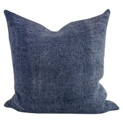 Hand Painted Vintage Loomed Linen Square Pillow in Blue Tones, in Stock