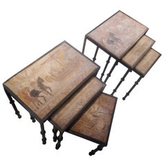 Double Set of Bronze Nesting Side Tables with Carved Stone Tops, France, 1950