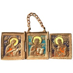 19th Century Russian Orthodox Enameled Bronze Folding Traveling Altar Icon