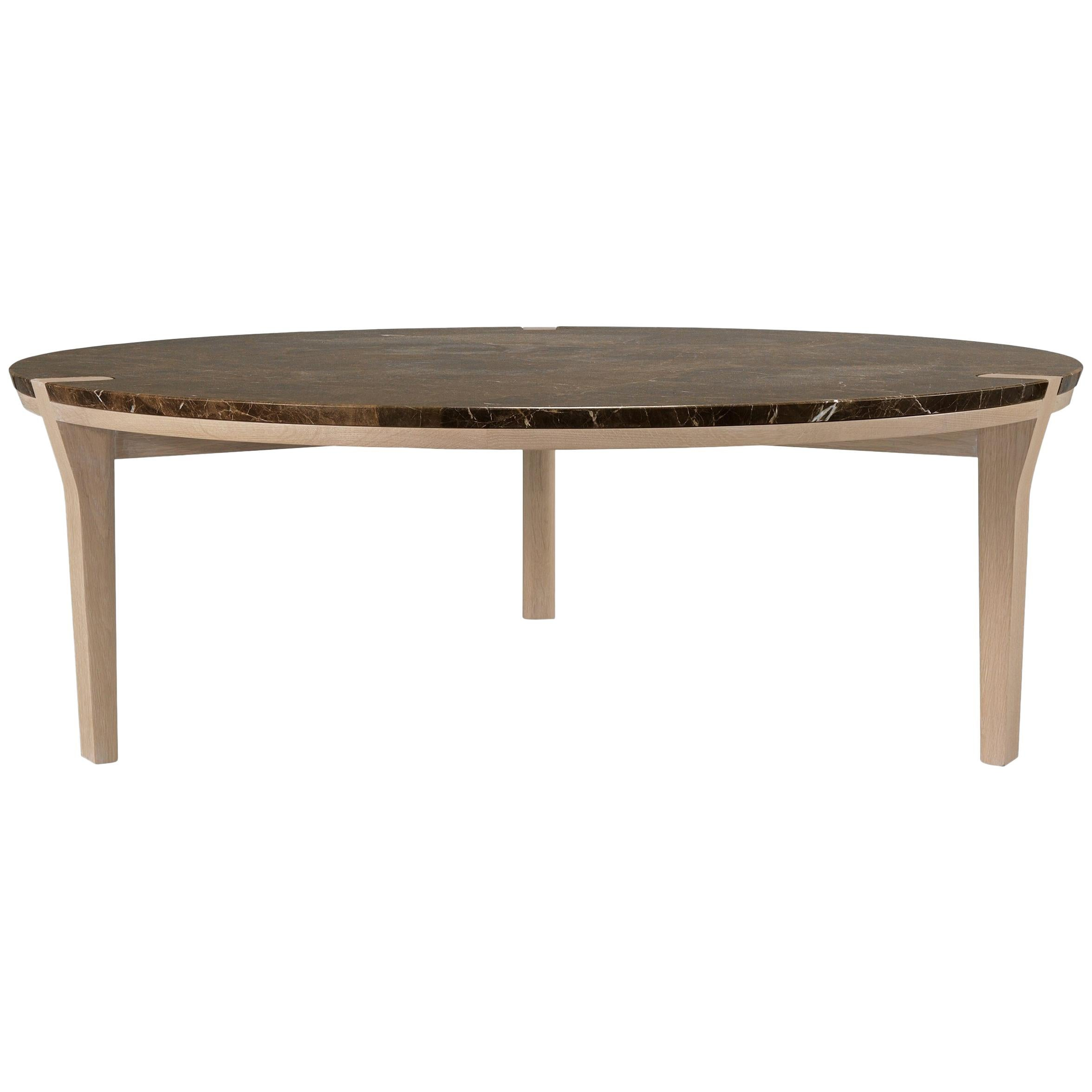 Circular Marble Walnut or Oak Center Coffee Table
