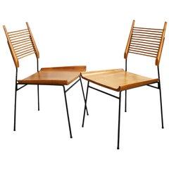 Rare Pair Midcentury Paul McCobb Planner Group Shovel Chairs #1533 Maple Iron
