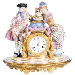 Porcelain Mantle Clock Paris, French, Late 19th Century