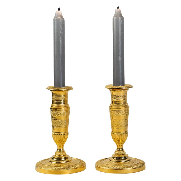 French Empire Period, Pair of Small Gilt-Bronze Candlesticks, circa 1805 For Sale