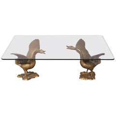 Ilana Goor Coffee Table With Bronze Bird At 1stdibs