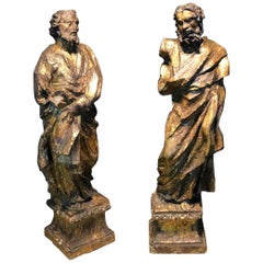 16th Century a Large Scultpure Representing Two Apostles