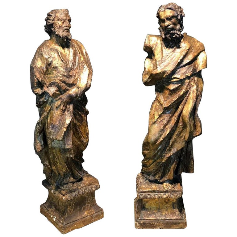 16th Century a Large Scultpure Representing Two Apostles For Sale