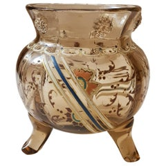 Gallé XX Sec. Spherical Smoky Glass France Art Nouveau Vase, 1890s
