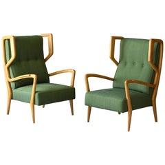 Orlando Orlandi, Rare Lounge Chairs, Green Fabric, Wood, Brianza, Italy, 1948
