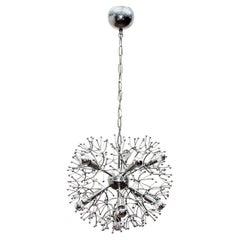 Midcentury Chromed Metal Chandelier Sciolari Sputnik 1960 Italian Design