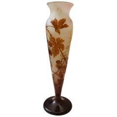 Gallé XXI Sec. Floral Brown Decoration Art Nouveau Conical Glass Vase, 1920s