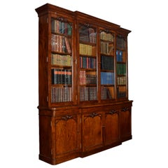 Early Victorian Mahogany Library Breakfront Secretaire Bookcase