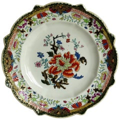 Early 19th Century Masons Ironstone Plate in Ragged Rose Pattern, Rare Shape