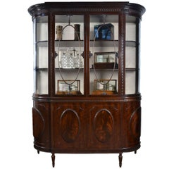 Very Large Mahogany Bow Ended Display Cabinet