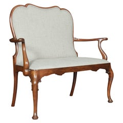 Queen Anne Style Mahogany Two-Seat Settee