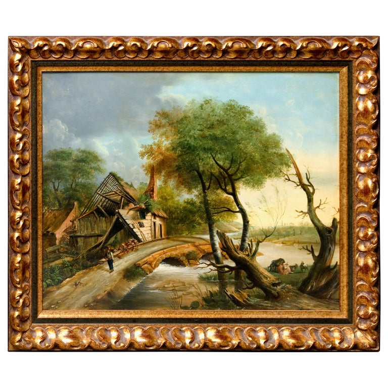 Northeuropean Landscape with Ruins, 17th Century Style, Early 20th Century For Sale