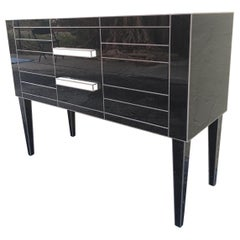 New Chest of Drawers in Black Mirror and Aluminium with White Glass Handle