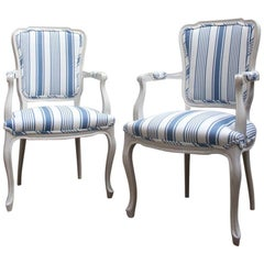 1960s Blue and White Striped Vintage Armchairs