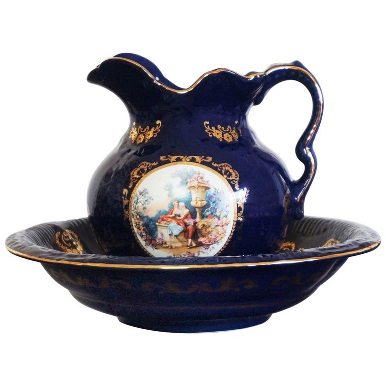 Victorian Style Cobalt Blue Hand Painted Porcelain Wash Bowl Pitcher For Sale