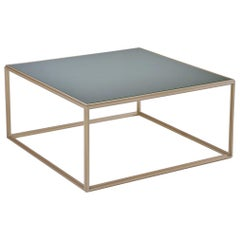Cubist Glass and Brass Occasional Square Table, by P. Tendercool