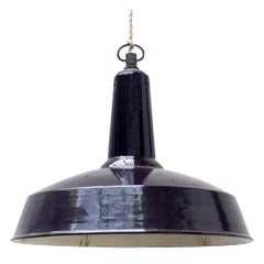Large Industrial Midcentury Black Pendant Light