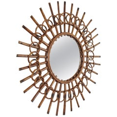 1960s French Riviera Mid-Century Modern Rattan Sunburst Mirror Framed by Circles