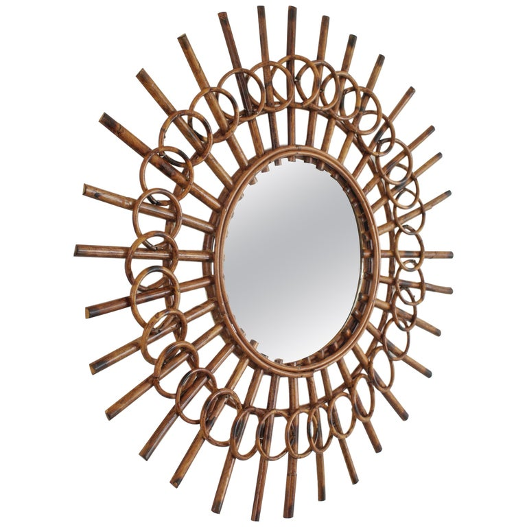 1960s French Riviera Mid-Century Modern Rattan Sunburst Mirror Framed by Circles For Sale