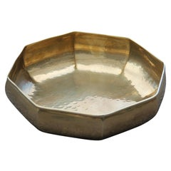 Octagonal Brass Bowl Embossed by Hand Design, Italian, 1970 Gold