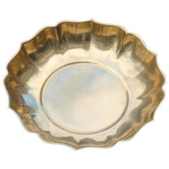 Round Baroque Scalloped Tray in Solid Brass, 1970s Italian Design