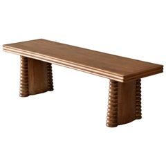 Vittorio Valabrega, Bench or Coffee Table, Carved Oak, Turin, Italy, circa 1940