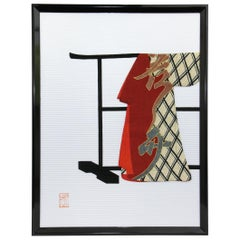 Large Japanese Contemporary Gilded Silk and Brocade Framed Oshie Decorative Art