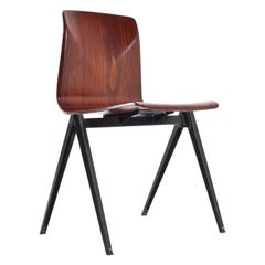 Midcentury Industrial School Chairs in Brown Plywood S22 by Galvanitas, 1960s