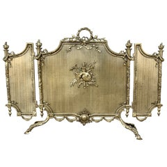 19th Century French Louis XVI Style, Three-Panel Bronze Fire Screen