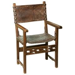 """Frailero"" (Fray) Chair, Walnut, Leather, Metal, 17th Century"
