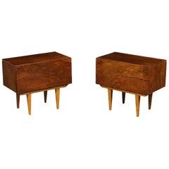 Pair of Nightstands Veneered Wood Vintage Argentine, 1950s