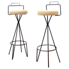 1970 Industrial Bar Stool with Beige Seat Cushion