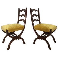 Pair of Walnut Side Chairs Attributed to Howard & Sons, Berners Street, London