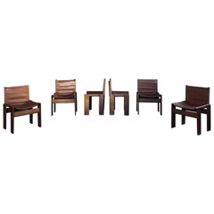 """Afra & Tobia Scarpa Midcentury """"Monk"""" Dining Chair for Molteni, 1973, Set of 6"""