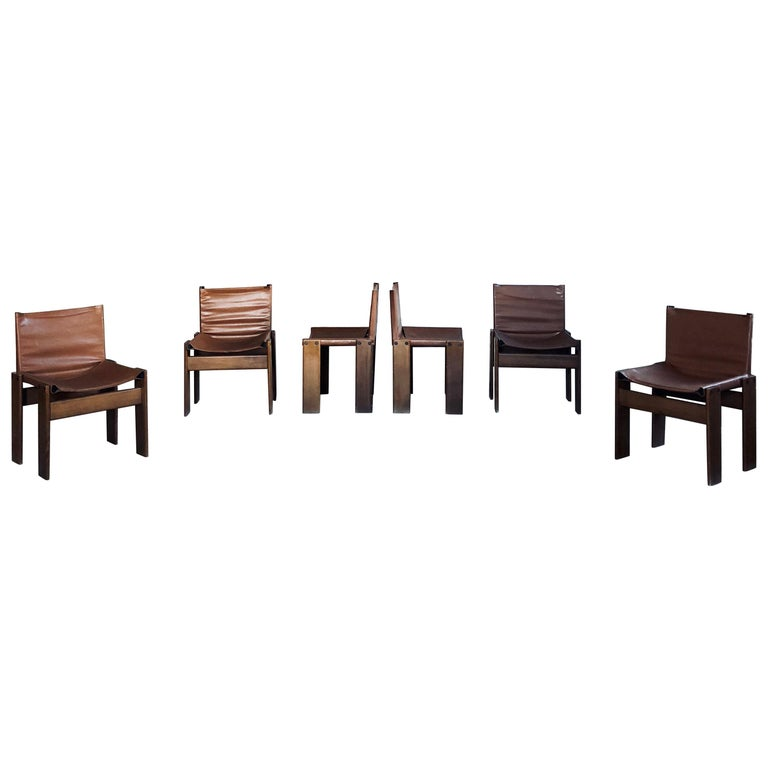 """Afra & Tobia Scarpa Midcentury """"Monk"""" Dining Chair for Molteni, 1973, Set of 6 For Sale"""